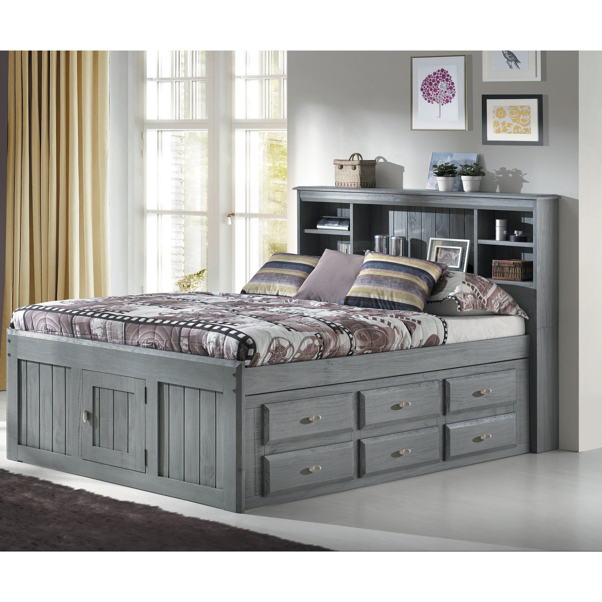 Solid Pine Full Bookcase Bed With 6 Drawers In Charcoal Bed With Drawers Bookcase Bed Captains Bed