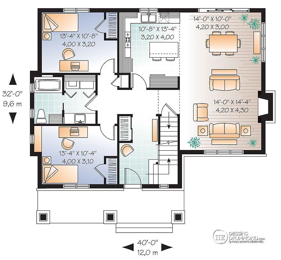 Détail du plan de Maison unifamiliale W3515 Best Pinterest - plan maison etage m