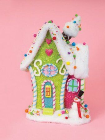 "21"" Cupcake Heaven Green and Pink Whimsical Table Top Candy Christmas House"
