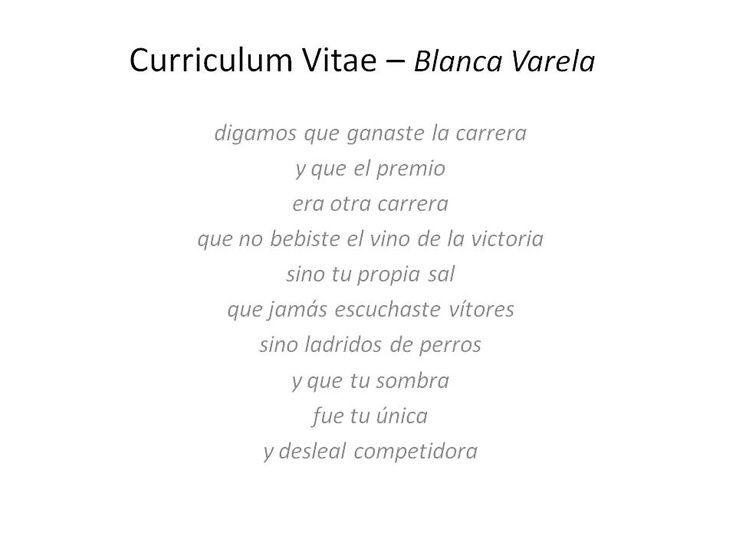 analisis del poema curriculum vitae de blanca varela