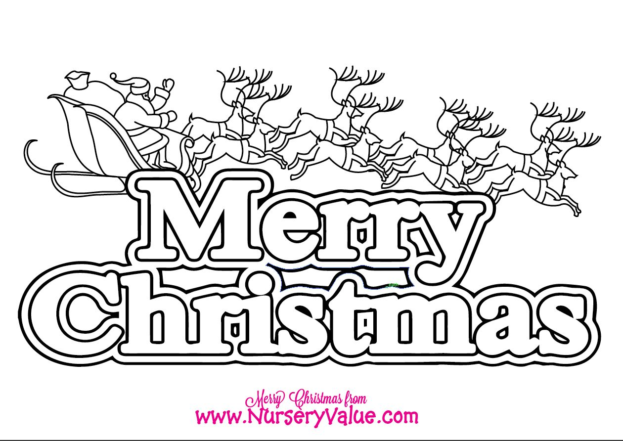 Free Christmas Colouring In Sheet Of The Words Merry