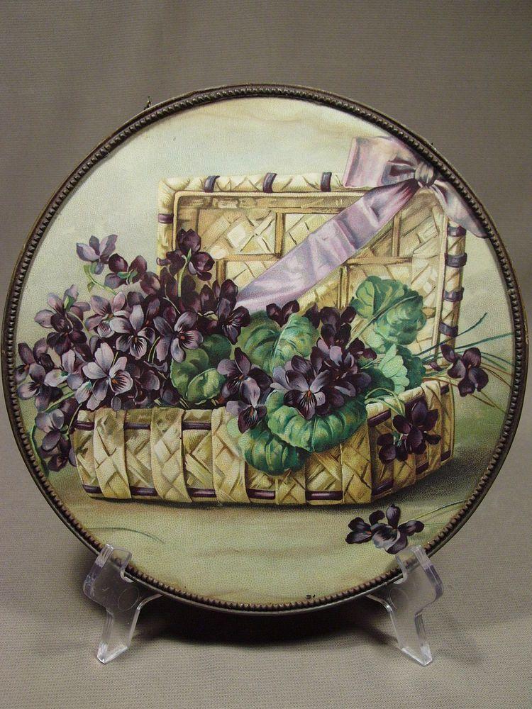 Antique Flue Chimney Cover Basket of Violets Germany