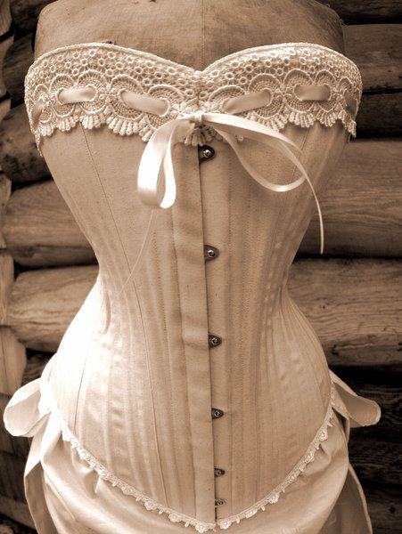 White steampunk wedding dress, unbleached cotton