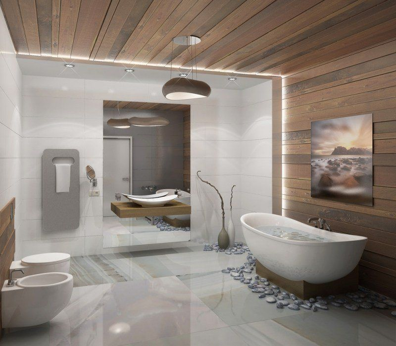 revêtement mur et plafond salle de bain en lambris en bois moderne ...