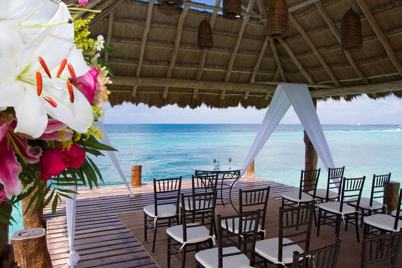 The view from the pier will leave you and yours awed during your ceremony.The Pier can accommodate 30 people for a wedding ceremony and 20 people for cocktails and reception! #SecretsAuraCozumel