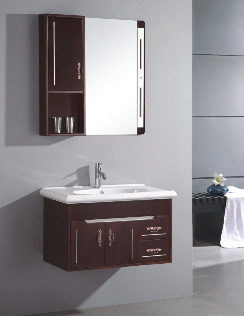 Small sink cabinet small wall mounted single sink wooden for Low bathroom cabinet