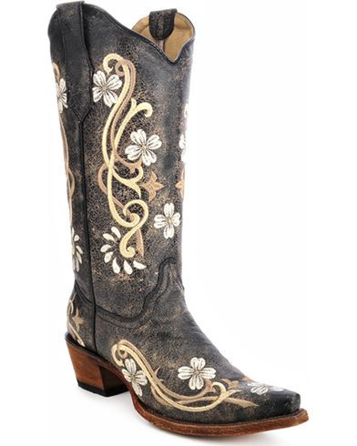 Corral Women's Distressed Embroidered Western Boots brown 0459D4 Women's  Cowgirl Boots GCCXLLQ