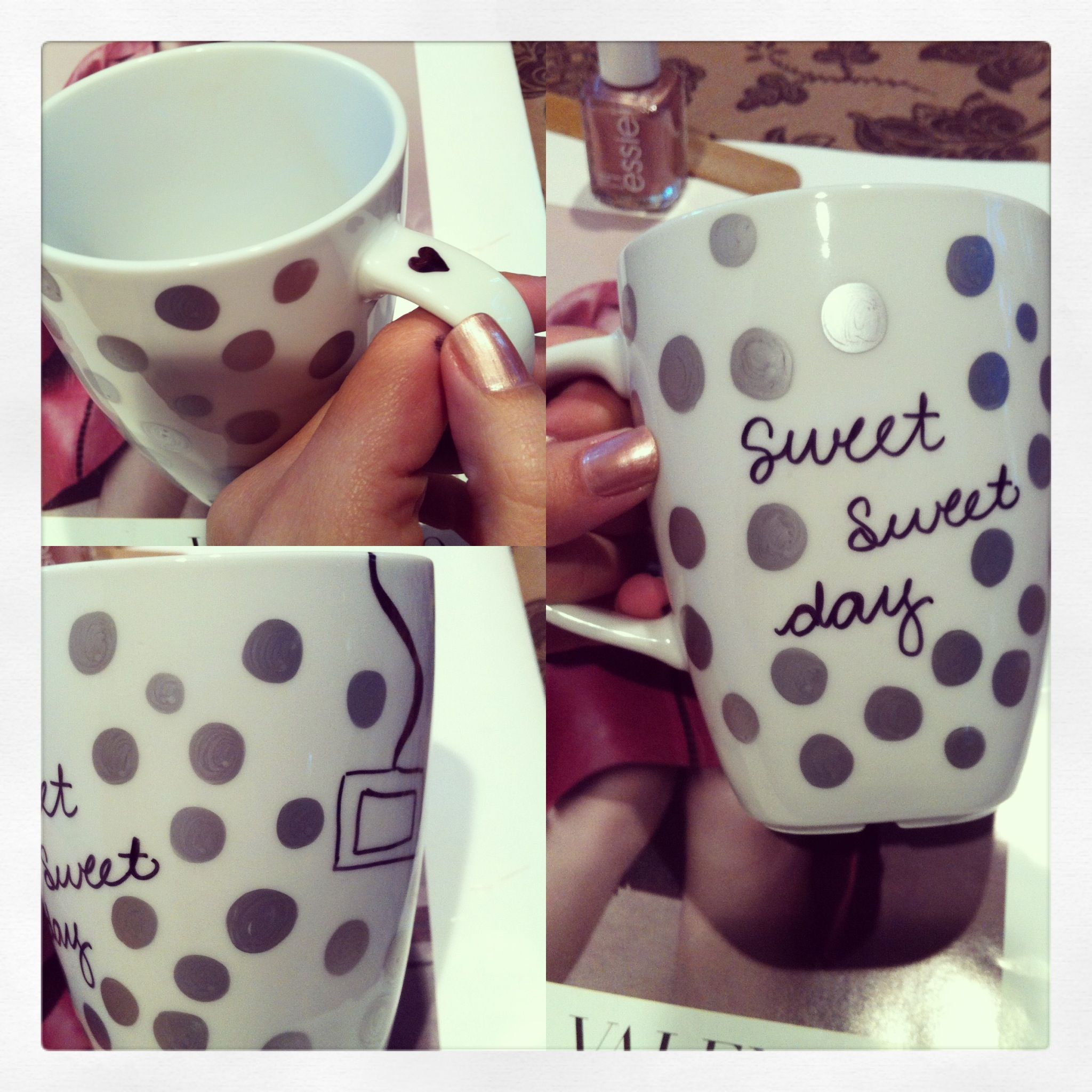 Sharpie mug. Nailed it! Design, bake at 350 degrees for 20 minutes and enjoy! Won't wash or scratch off.