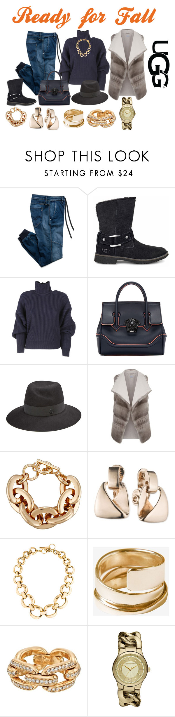 """Ready for Fall"" by theranna on Polyvore featuring Replay, UGG, Balenciaga, Versace, Maison Michel, malo, Lydell NYC, Anne Klein, Vaubel and Toast"