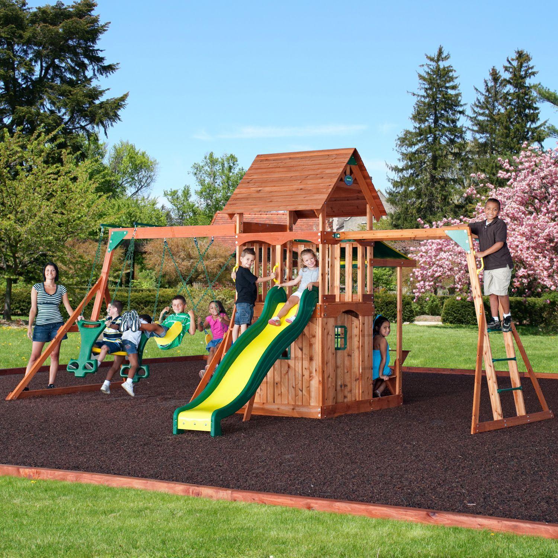 backyard discovery saratoga cedar swing play set cedar swing