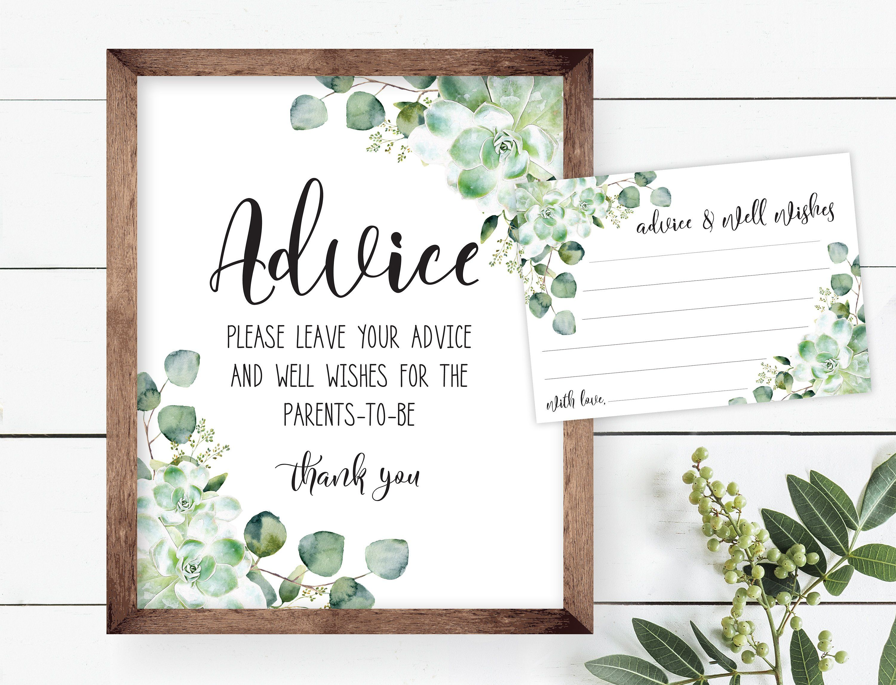 Advice for the new parents sign succulent greenery shower