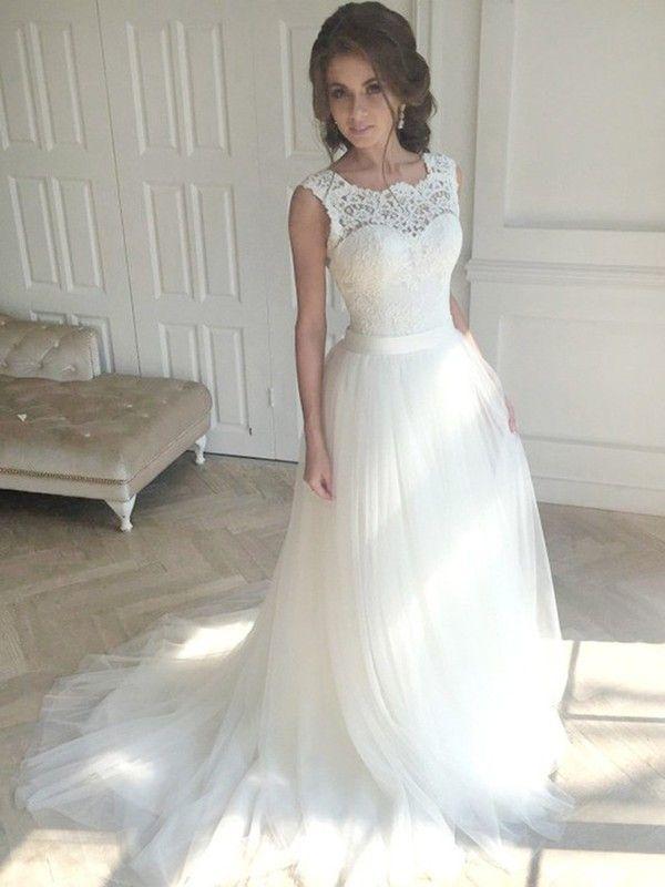 Photo of Lang A-Linie Ärmellos Spitze Tüll Weiß Brautkleid Hochzeitskleid