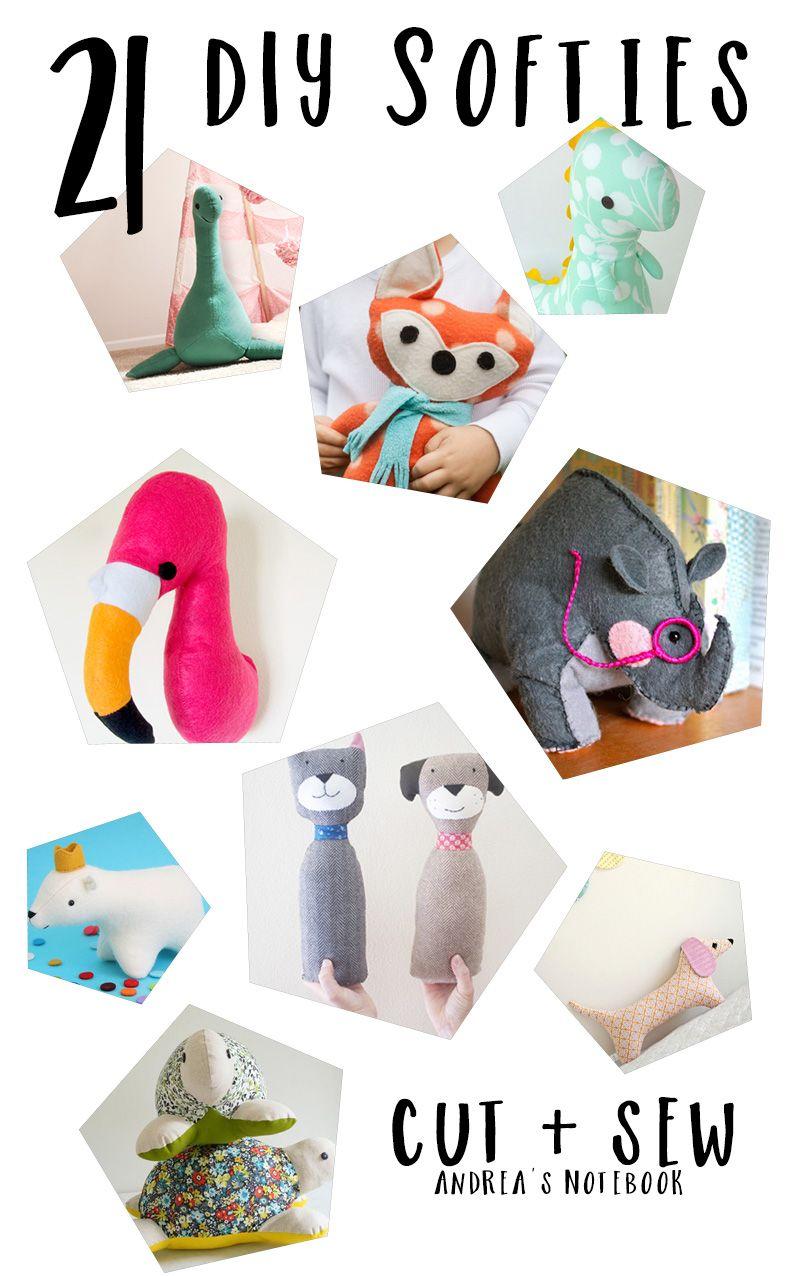 21 DIY Softies to Sew | dolls | Pinterest | Costura, Juguetes y Tela