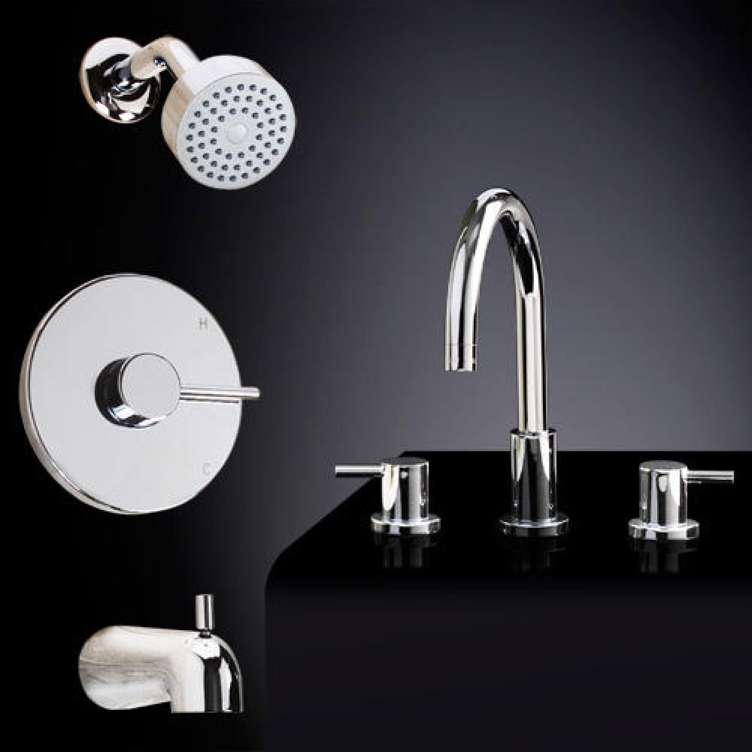 Rotunda Tub Shower Set 2 With Widespread Sink Faucet