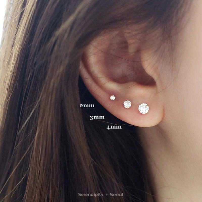 Round CZ Stud Earring- 14K Gold #earpiercingideas