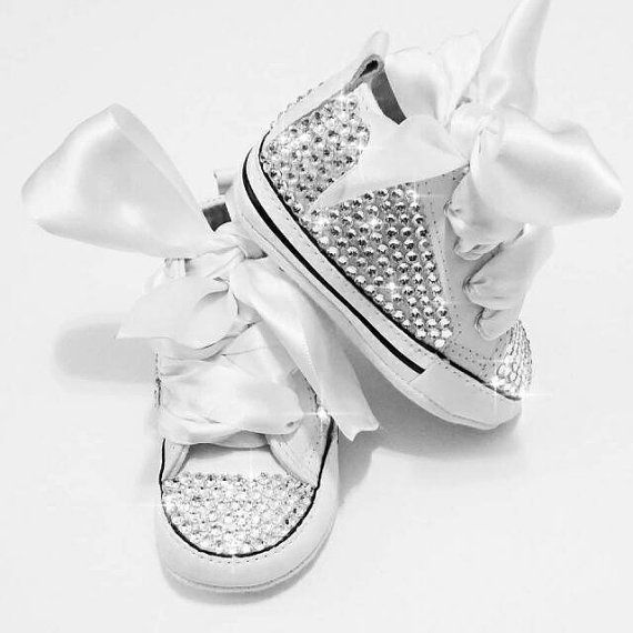 White baby Converse baby bling shoes