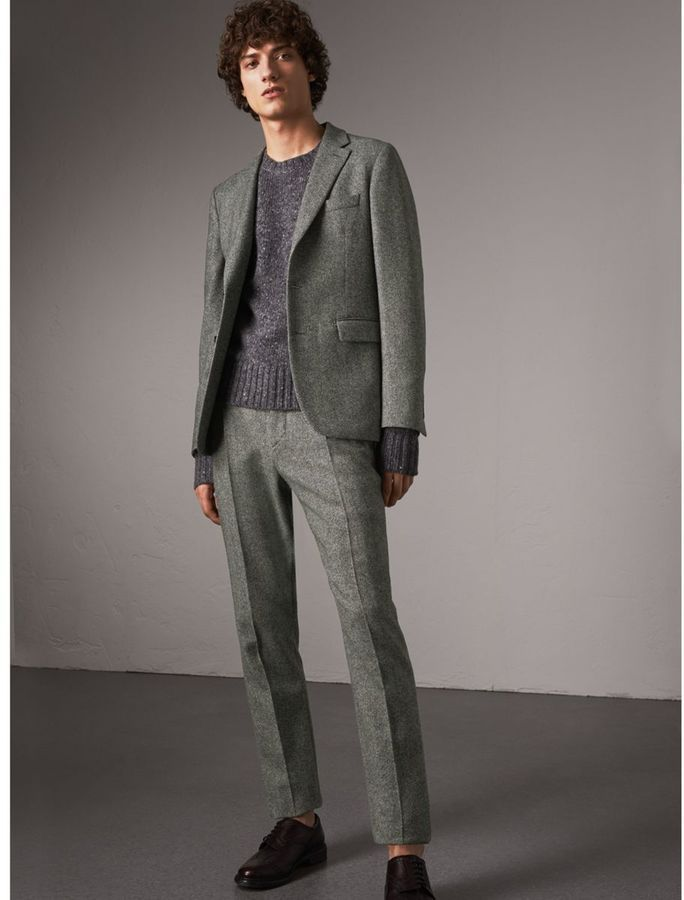 Burberry Soho Fit Herringbone Wool Trousers  ad883dfa642ce