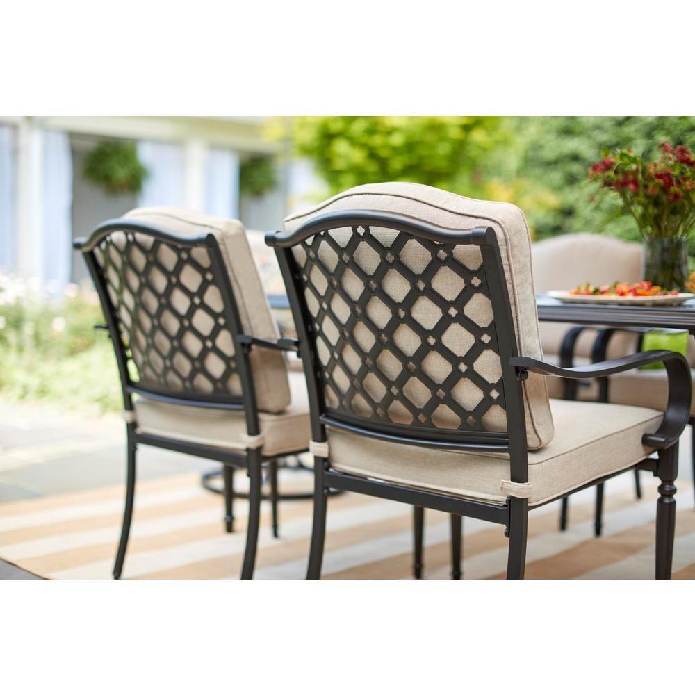 c22e004c4f9 Hampton Bay Laurel Oaks Black 7-Piece Outdoor Dining Set with Beige Cushions -525.0200