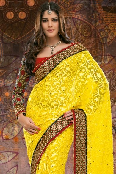 Yellow Brasso Embroidered Party and Festival Saree Sku Code:229-3711SA534589 $ 92.00