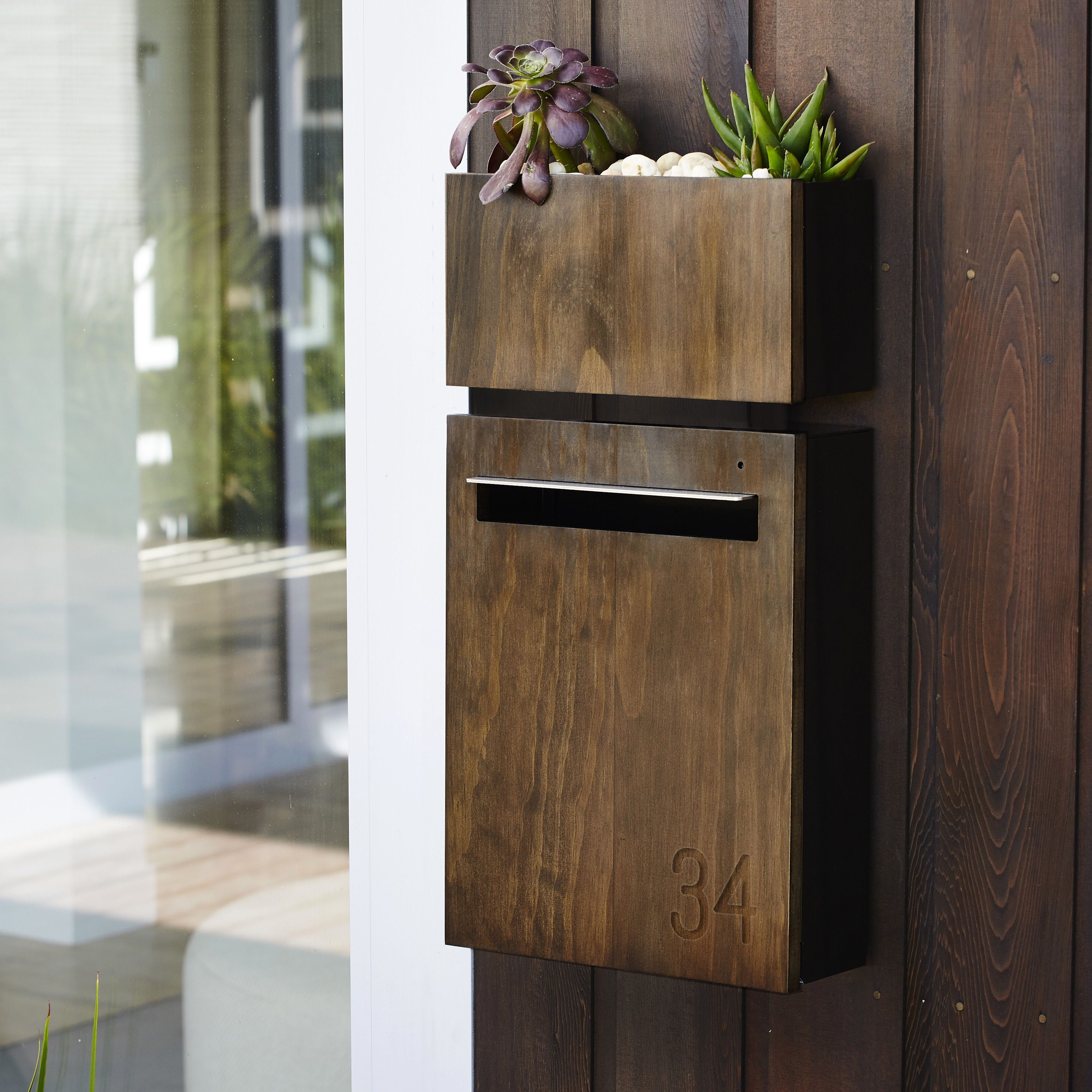 Javi Wall Mount Letterbox With Javi Wall Planter In Charcoal With Dark Stained Accoya Wood Front Panel Letter Box Modern Mailbox Wall Mounted Tv