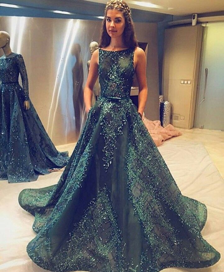 Emerald wedding dress from ziad nakad a girl can dream for Emerald green dress wedding guest