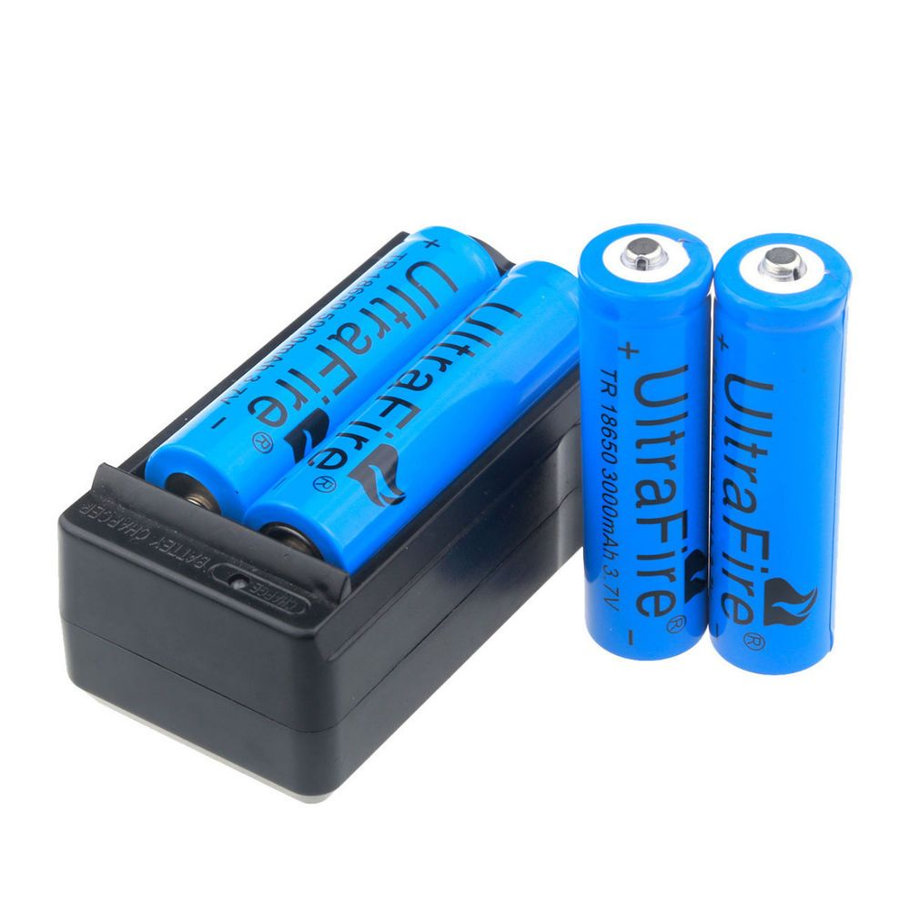 4pcs Ultra 3000mah Fire 18650 Battery 3 7v Li Ion Rechargeable Batteries Charger
