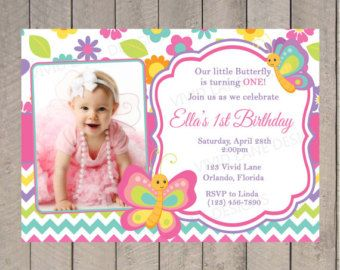 Butterflies Birthday Invitation Spring First Pink Purple Yellow Photo Flowers Colorful 1st 2nd 3rd 4th