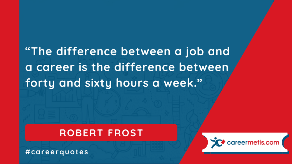 """The difference between a job and a career is the difference between forty and sixty hours a week."" ROBERT FROST  careerquotes dailyquotes #quoteoftheday #motivation #success #inspiration #quotes #business #entrepreneur #business #careers #careeradvice #goals #mindset #successquotes #successful #success"