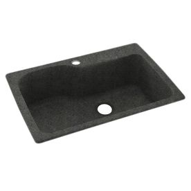 Swanstone 22-in x 33-in Indian Grass Single-Basin Composite Drop-In or Undermount 1-Hole Residential Kitchen Sink
