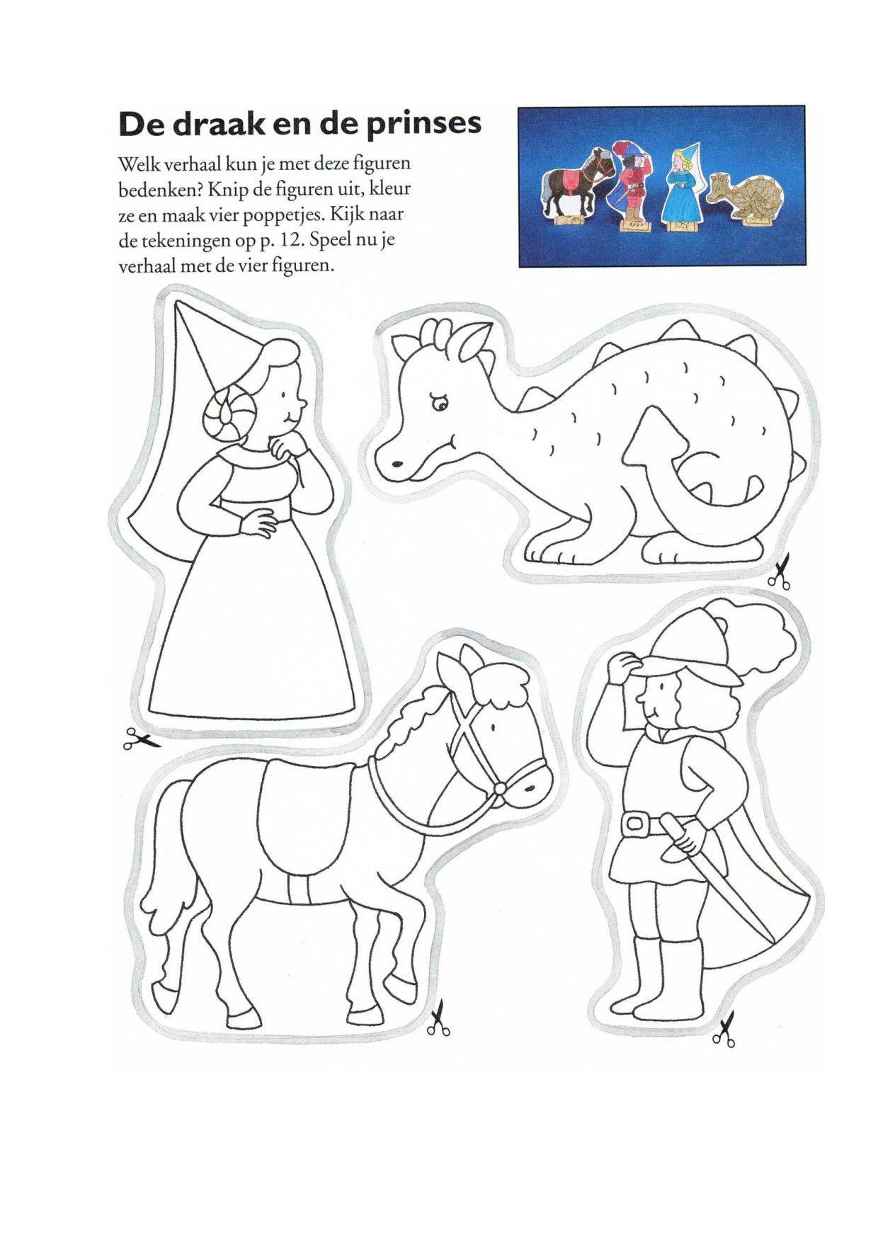 vingerpoppetjes draak paard prins en prinses