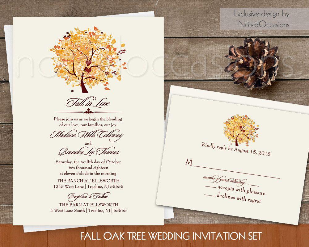 Rustic Fall Wedding Invitation Set Printable Autumn Oak Tree