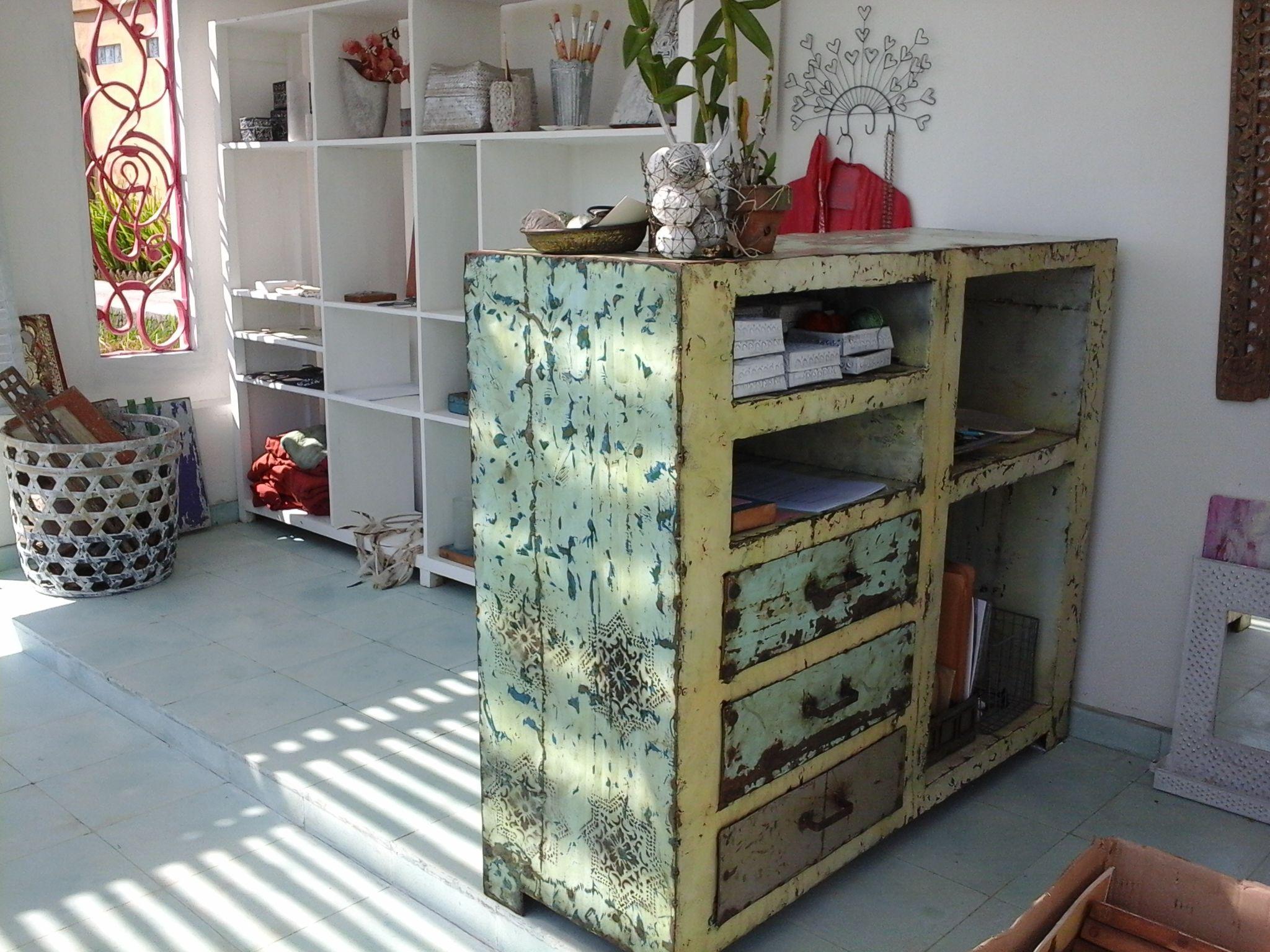 Meuble Bas Blanc Fabriqu En Bidon Recycl Fabrication Balinaise  # Meuble En Bidon Recycle