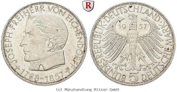 RITTER BRD, 5 DM 1957 J, Eichendorff, J. 391 coins