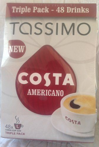 Tassimo Costa Americano Triple Pack - 48 drinks large size only from worldwidemart - http://hotcoffeepods.com/tassimo-costa-americano-triple-pack-48-drinks-large-size-only-from-worldwidemart/