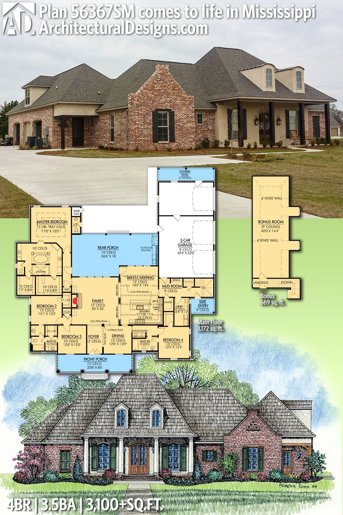 Plan 56367sm Roomy French Country Home Plan In 2020 Country House Plans Southern House Plans French Country House