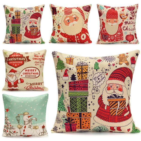 45X45cm Christmas Santa Claus Snowmen Gift Fashion Cotton Linen Pillow Case Home Decor
