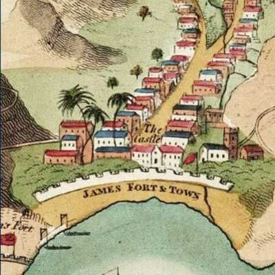 James Fort Town and Church from Reads map of St Helena 1817