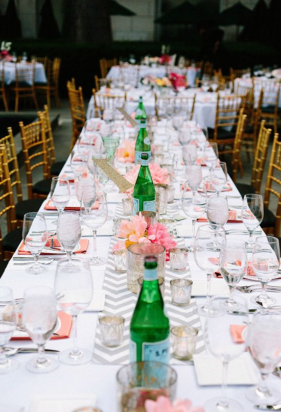 Grey Chevron Table Runner And Pink And Coral Accents