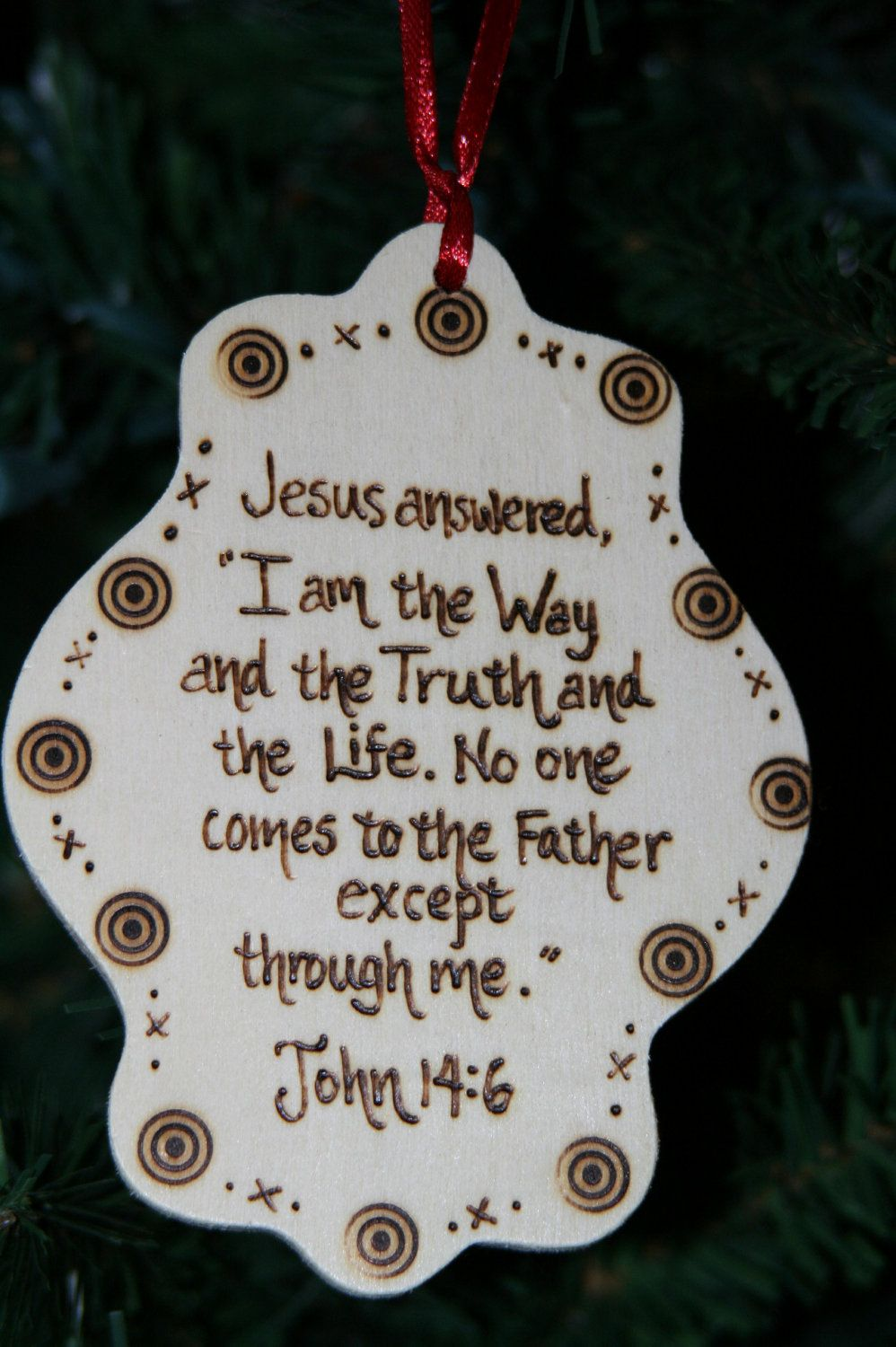 Wooden Christian Christmas Ornament with Red Ribbon. $8.00 ...