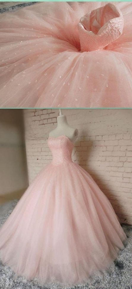 Pink Ball Gown Beading Prom Dress,Long Prom Dresses,Charming Prom ...