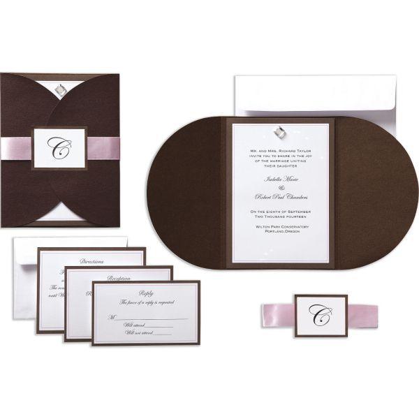 Brown U0026 Pink Rhinestone Pocket Printable Wedding Invitations Kit 25ct