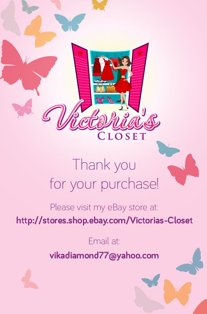 Thank you for your purchase business card victorias closet store thank you for your purchase business card reheart Gallery