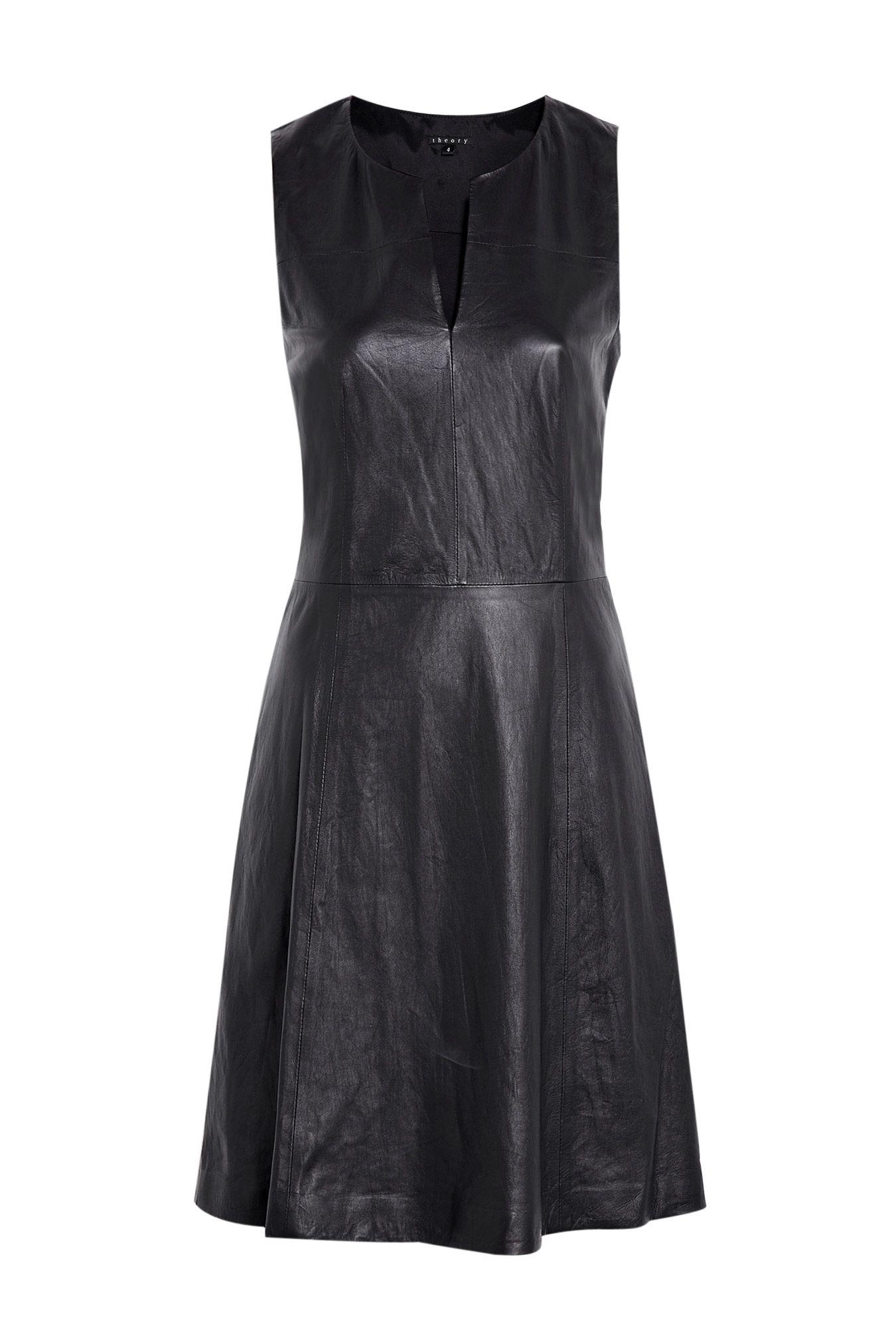 Sleeveless Leather Shift Dress by Theory