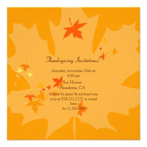 Thanksgiving Invitations Maple Leaves Card  Invitations