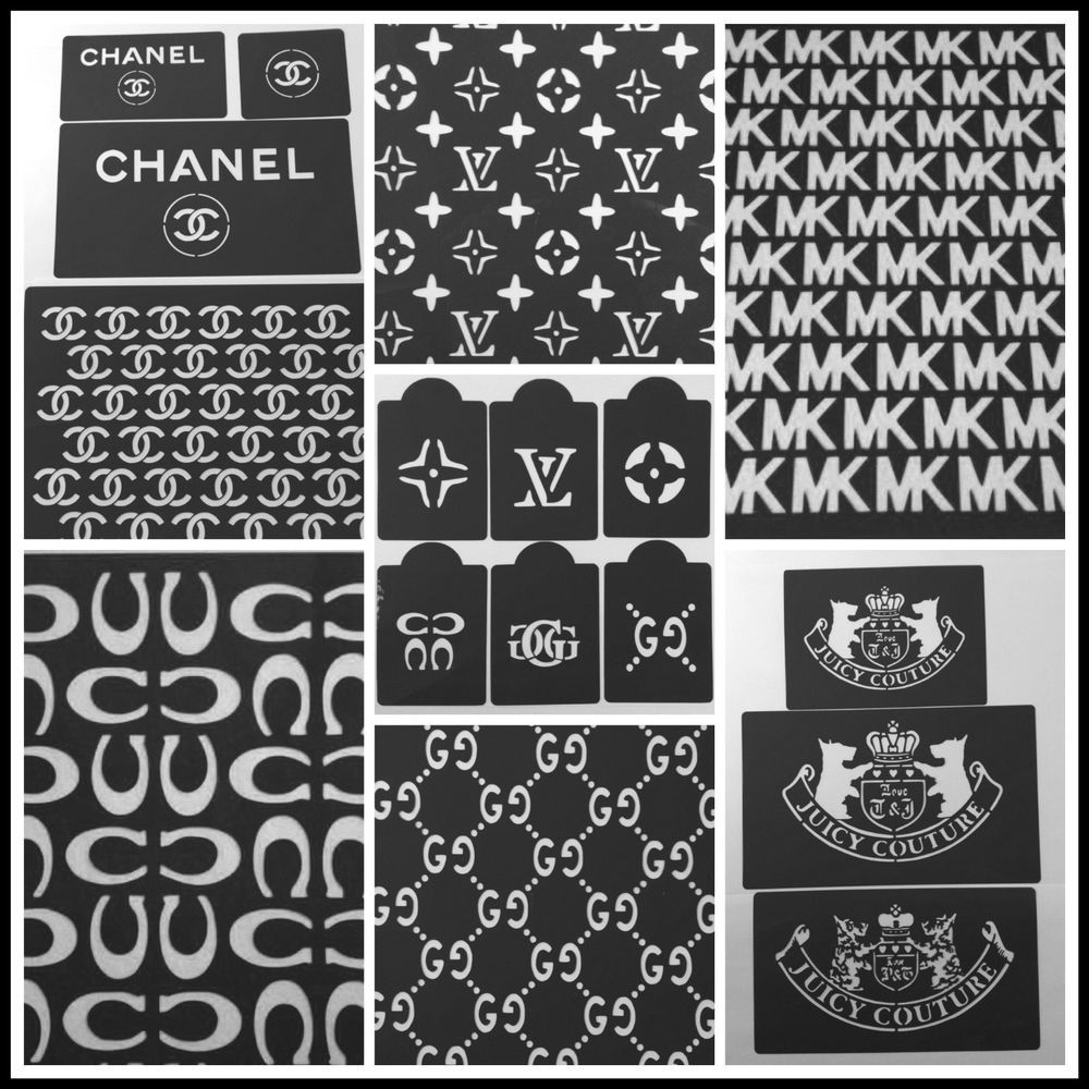 Lot of 19 Cake stencils designers MK Louis Vuitton Chanel Coach ...