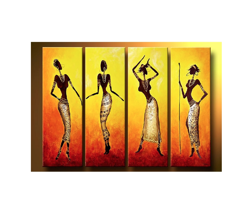 Abstract Oil Painting African Ladies Ready To Hang In Depth 100 Handmade Wall Decor On Canvas Model Number JEN 315167 Type Style
