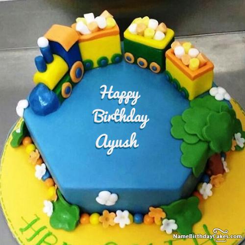 Free Train Birthday Cake With Your Kids Name And Photo Ayush Anu
