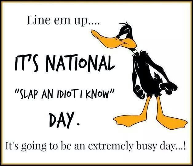 "Funny Busy Day Quotes: Line Em Up... It's National ""Slap An Idiot I Know"" Day It"