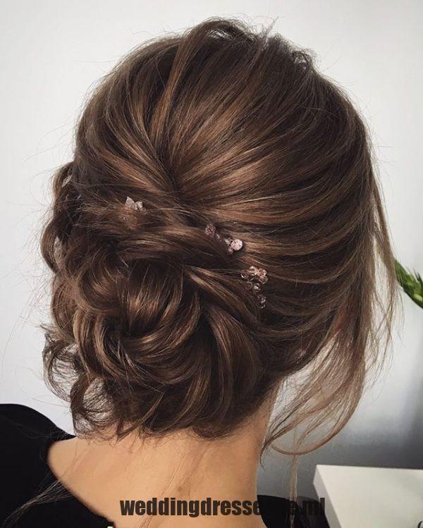 Hochzeit Frisuren Mittellange Haare: Unordentliche Brunette-Brautfrisur-Frisur