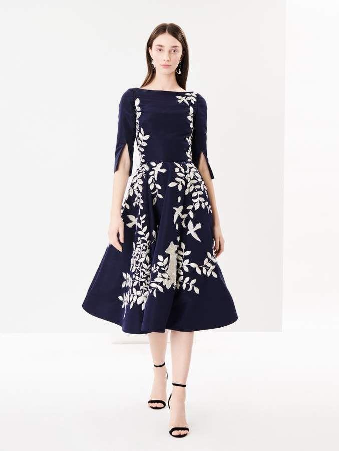d99cb836f9 Oscar de la Renta Embroidered Silk-Faille Cocktail Dress